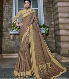 Buy Beige woven banarasi silk saree with blouse diwali-sarees-collection online