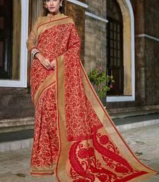 Buy Red woven banarasi silk saree with blouse diwali-sarees-collection online