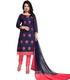 Buy Navy blue embroidered chanderi salwar chanderi-salwar-kameez online