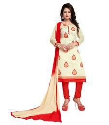 Buy White embroidered chanderi salwar chanderi-salwar-kameez online