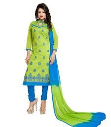 Buy Green embroidered chanderi salwar chanderi-salwar-kameez online