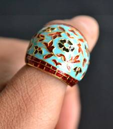 Buy Designer Meenakari Mughal Art Motif Royal Adjustable Ring Ring online