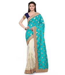 Buy Sky blue embroidered faux jacquard saree with blouse designer-embroidered-saree online