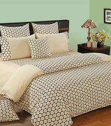 Buy Swayam Cotton Bedsheet  with Pillow Cover (Cream) bed-sheet online