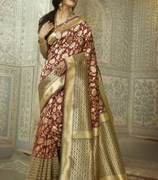 Buy Brown woven silk saree with blouse handloom-saree online