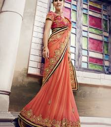 Buy Coral embroidered chiffon saree with blouse diwali-sarees-collection online