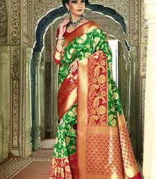 Buy Green woven silk saree with blouse handloom-saree online