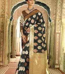 Buy Black woven silk saree with blouse handloom-saree online