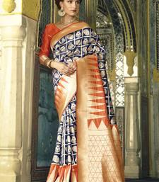 Buy Blue woven silk saree with blouse handloom-saree online