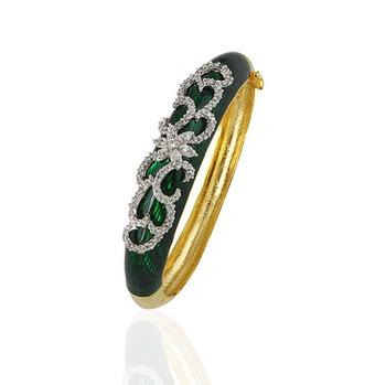 Heena Trendy Dark Green Enamel Bracelete by Heena Jewellery >> HJBC06 <<