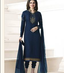 Buy Navy blue embroidered georgette salwar with dupatta party-wear-salwar-kameez online