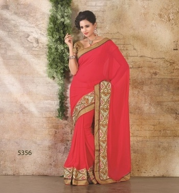 PINK TOMATO COLOR HEAVY EMBROIDERY SAREE
