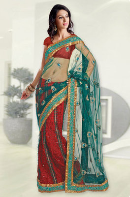 Green Fancy designer Net Georgette lehenga Saree