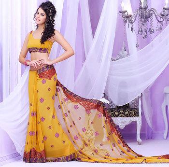 Yellow stylish designer Georgette Saree