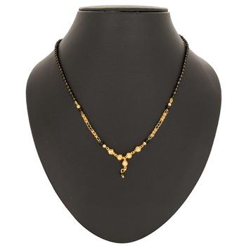 Gold crystal mangalsutra
