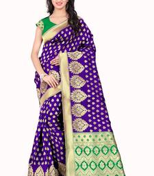 Buy Purple woven poly cotton saree with blouse hand-woven-saree online