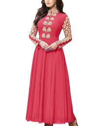 Buy Peach embroidered georgette salwar party-wear-salwar-kameez online