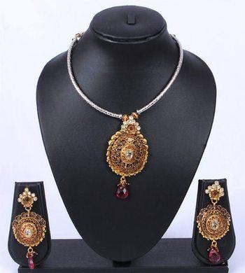 Gold Silver Chain Polki Pendant Set