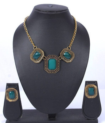 Blue Gold Oxidised Fashion Necklace Set