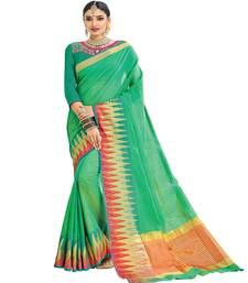 Buy green printed cotton saree with blouse wedding-season-sale online