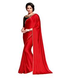 Buy red printed satin saree with blouse bridal-saree online