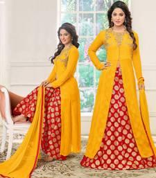 Buy Yellow embroidered georgette salwar wedding-season-sale online