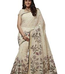 Buy White woven cotton saree with blouse handloom-saree online