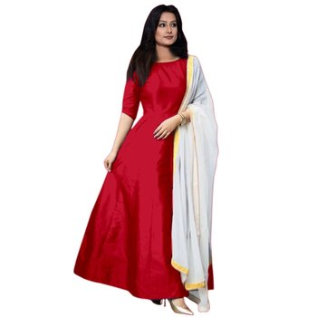 Red plain banglori silk semi stitched gown with dupatta