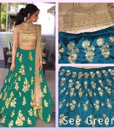 Buy Green embroidered silk unstitched lehenga punjabi-lehenga online