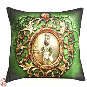 Green Poly Velvet Digital Print Cushion Cover