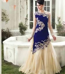 Buy Blue embroidered net semi-stitched lehenga choli lehenga-choli online
