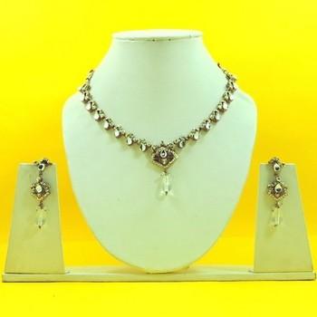 Designer Artificial Silver Necklace Set