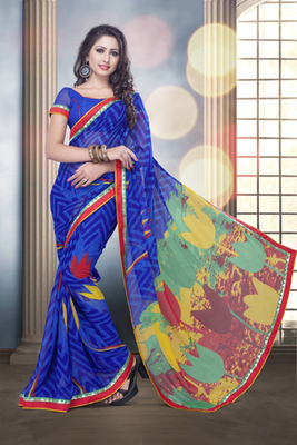 Blue Bemberg Georgette Printed Saree with Blue Blouse piece
