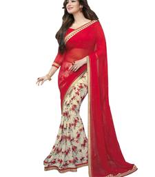 Buy Red printed georgette saree with blouse bollywood-saree online