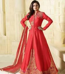Buy Pink embroidered art silk sarees salwar anarkali-salwar-kameez online