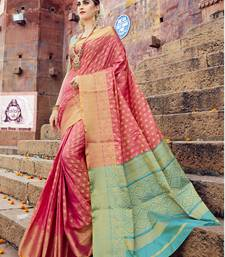 Buy Pink woven banarasi silk saree with blouse banarasi-silk-saree online