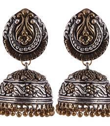 Buy Two tone plated exclusive oxidised jhumka earring jhumka online
