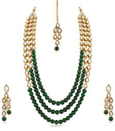 Buy Gold Finish Kundan  and  Glass Pearl 3 Layer necklace Set with Maang Tikaa necklace-set online