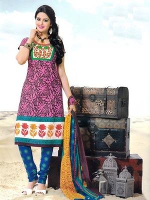 Fabulous Pink Printed Cotton  Dress Material