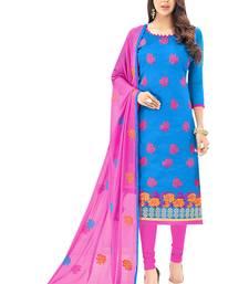 Buy Blue embroidered silk salwar straight-suit online