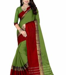 Buy Green printed cotton silk saree with blouse other-saree online