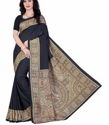 Buy Black printed art silk saree with blouse printed-saree online