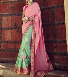 Buy pink embroidered Net (with Inner) saree with blouse wedding-saree online