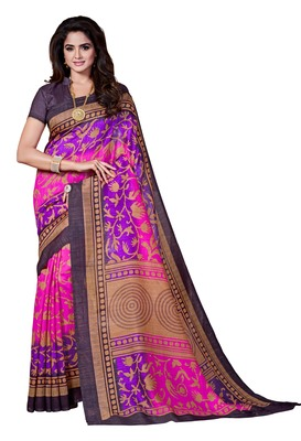 Purple printed Mysore Jute and Cotton Linen Blend Silk saree with blouse