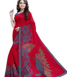 Buy Maroon printed Mysore Jute and Cotton Linen Blend Silk saree with blouse printed-saree online