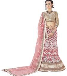 Buy Pink embroidered net unstitched lehenga with dupatta ethnic-lehenga online