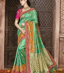 Buy Green embroidered banarasi silk saree with blouse bridal-saree online