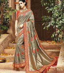 Buy Grey embroidered banarasi silk saree with blouse bridal-saree online