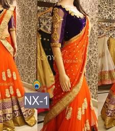 Buy Orange embroidered net semi stitched lehenga choli bollywood-lehenga online