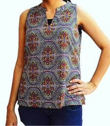 Buy Purple and  Multicolor Crepe tops top online